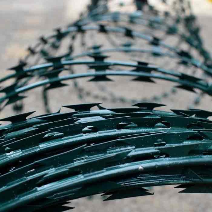 Colour coated razor wire